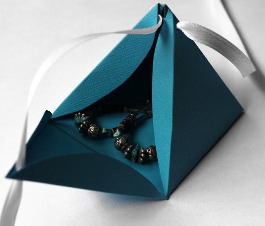 pyramid gift box earrings