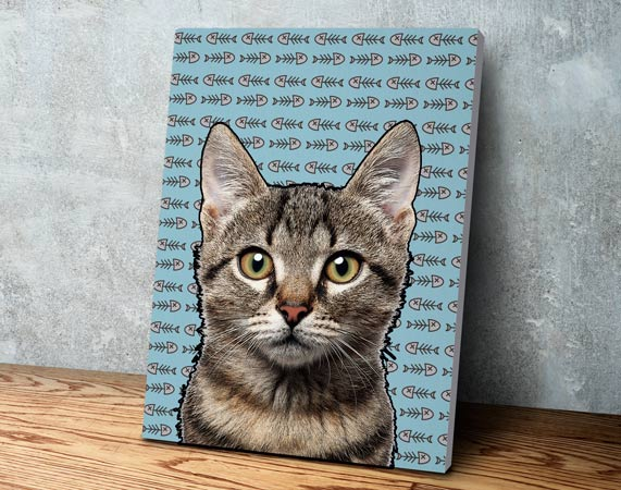 Lienzo personalizado de tu gato con efecto pop