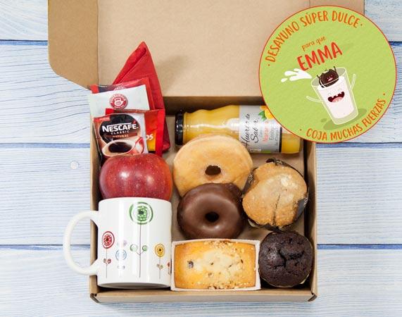 Caja de desayuno sorpresa para 1 persona Mojar para coger fuerzas