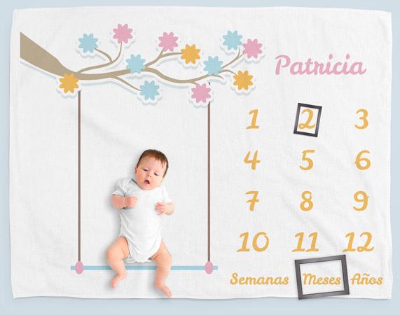 Manta personalizada Milestone Columpio para recién nacido