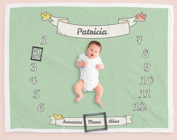 Manta personalizada Milestone Pajaritos para recién nacido