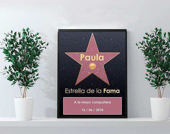 Diploma personalizado estrella de la fama