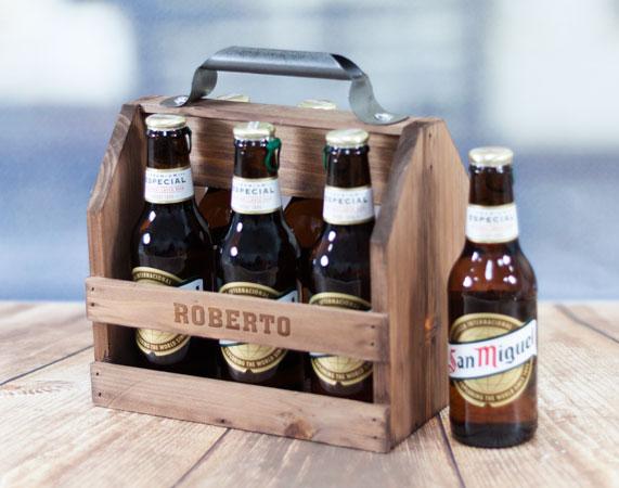 Caja de madera para cervezas personalizada