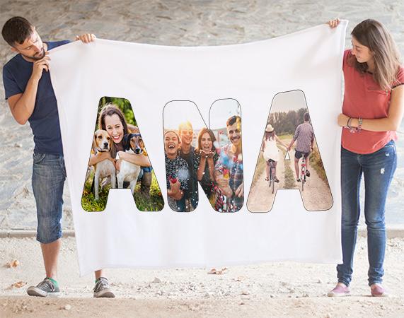 manta personalizada con letras